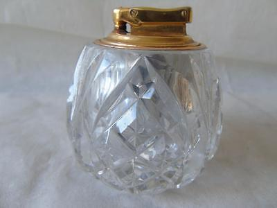 Vintage Heavy Webb Corbett Cut Glass Crystal Colibri Monogas Cigar Table Lighter