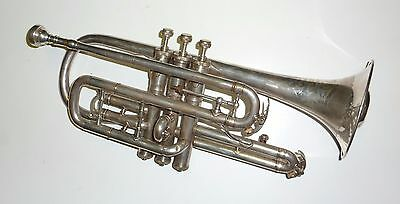 Vintage Buescher USA Silver plated Cornet with original mute & Case