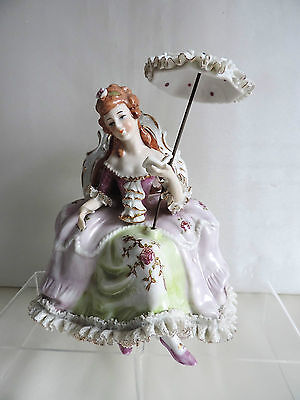 Antique Sitzendorf Porcelain Figurine Seated Lady with Parasol