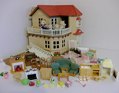 Sylvanian Families Beechwood Hall with Family and Furniture