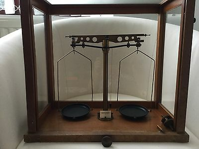 Very Old Cased Chemist's Apothecary Scales