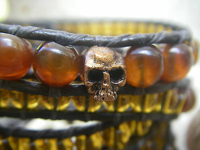 5 wraps bracelet crystal dragon veins beads skulls brown leather homme femme