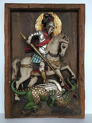 Iconic St George and the Dragon Carved 3D Wooden Panel