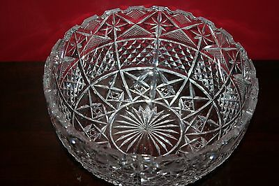 Thomas Webb Crystal Large Bowl Centrepiece 20cm Signed Excellent Condition