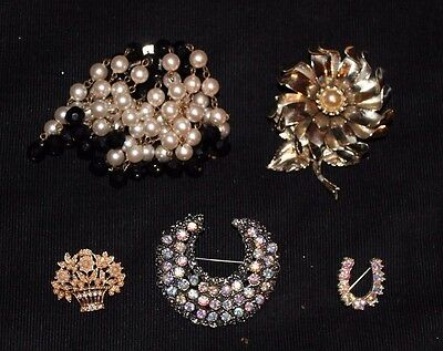 Five Assorted Vintage Costume Jewellery Brooches