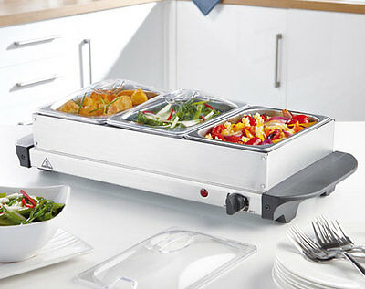Elgento 3 Tray Buffet Server - Ideal For Curries & Roasts -Use For Plate Warming