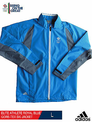 ADIDAS TEAM GB ISSUE - ELITE ATHLETE ROYAL BLUE GORE-TEX SKI JACKET Size:- Large