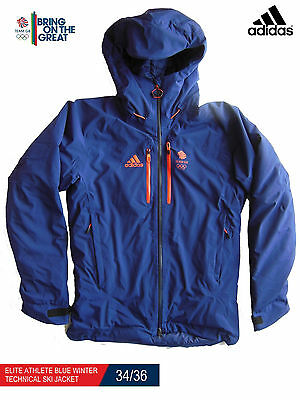Adidas Team Gb Issue - Elite Athlete Blue Winter Technical Ski Jacket 34/36
