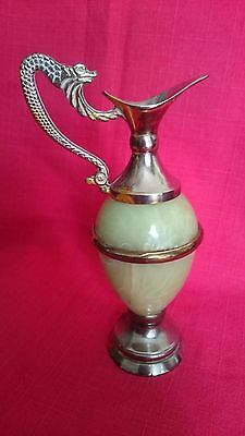 Metal with silver plated coating, green Onyx type Jug