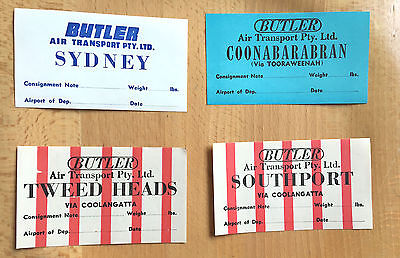 BUTLER AIR TRANSPORT PTY. LTD: 4 Old 1950s Labels Decals Unused