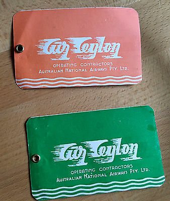 AIR CEYLON: 2 Old 1950s Baggage Check Labels