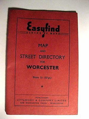 Antique EASYFIND SERIES OF MAPS~WORCESTER~MAP & STREET DIRECTORY~LOVELY OLDIE!