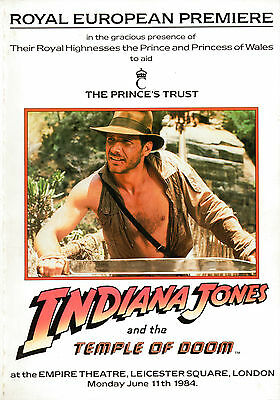 Extremely Rare - Royal Premiere Brochure - Indiana Jones & The Temple Of Doom