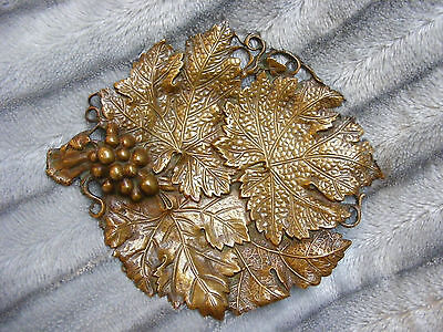 Lovely Vintage Antique Brass Bronze Tray Dish Plate With Leaf And Grapes