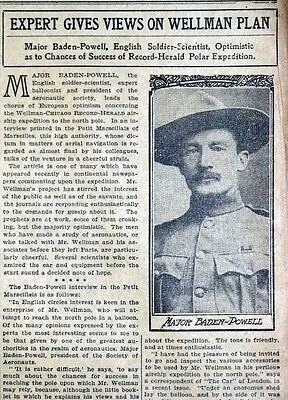 1906 Newspaper Page - Baden-Powell Walter Wellman North Pole Airship Expedition
