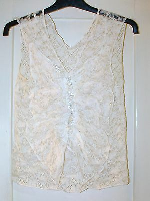 Vintage 1980's Handmade Bead Embellished Lace Top Size Small