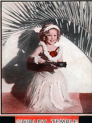 Vintage Shirley Temple Lithograph Color, 7X9 Temple Playing Instrument