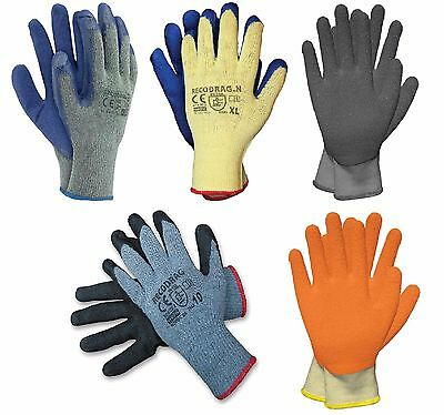 10-Latex Palm Dipped Grip Gloves Thermal Builders Gardening Mechanic Safety (US)