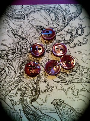 Exquisite Art Deco Mother of Pearl Enamelled PINK x 5 Tiny Buttons RARE antique