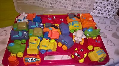 26 piece toy vehicle set with carry case