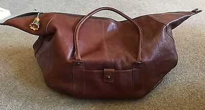 Next Brown Leather Overnight Bag - Vintage - Used