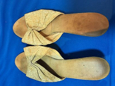 Ladies Slippers Gold size 3