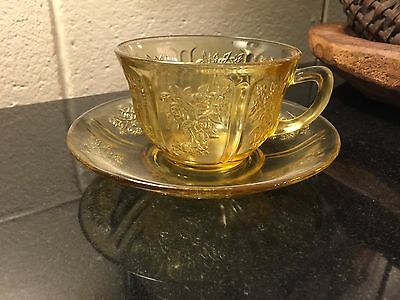 Federal Sharon Amber Depression Glass Cup & Saucer Set Cabbage Rose Pattern