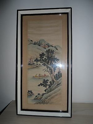 Vintage framed Chinese silk picture