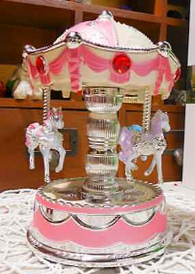 #18 Small Pink Carousel Colour LED / Up-down horses PVC battery music box