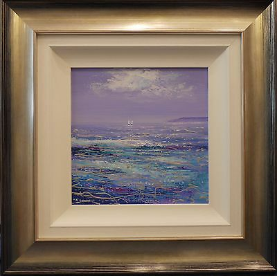 Mary Shaw original framed seascape painting on board Turquoise Waters