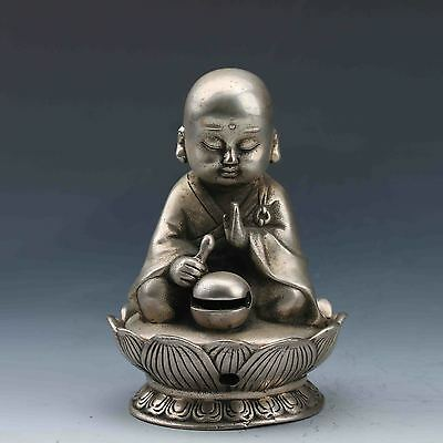 Chinese Tibetan Silver Hand-Carved Incense Burner&Seated Buddha Lid G609
