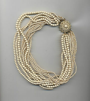 Vintage Signed Japan 1950s 11 Strand Layered Cream Coated Glass Bead Necklace