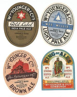 Younger's Beer Labels - Set of 4 - 1940s - Mint