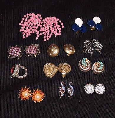 Collection of Assorted Vintage Costume Jewellery Clip Earrings