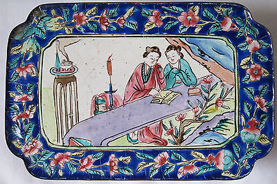 Antique Chinese Canton Enamel Rectangular Box w/ Lid 19th C - Hand Painted Nice