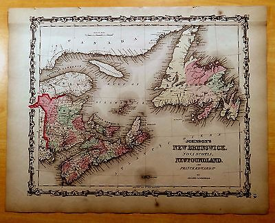 Antique Map ORIGINAL 1860 NEW BRUNSWICK, NEWFOUNDLAND & P.E.I. NOVA SCOTIA 14x18