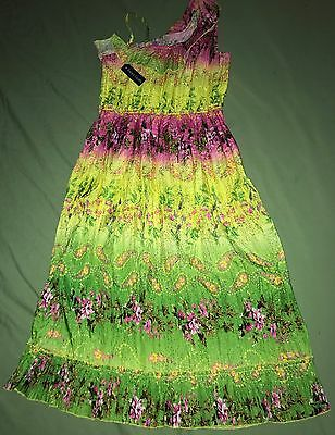 NEW Faded Glory Girls Pink Green Floral Dress Size 7-8 Spring Summer NWT