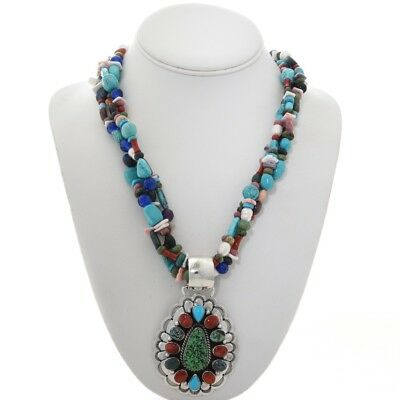 Sterling Turquoise Coral Necklace & Pendant Navajo by Ray Bennett W/FREE~OFFER