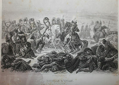 Battle of Eylau 1807  Antique French Print from 1800s of Napoleonic Wars