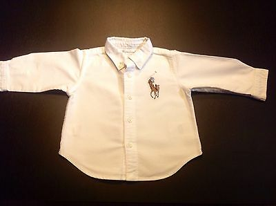 Baby boys white Ralph Lauren Big Pony Cotton Oxford shirt 6 months Immaculate