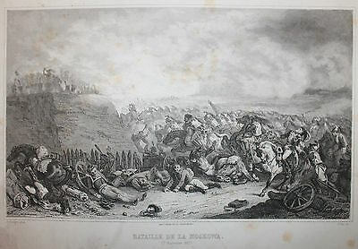 Battle of Borodino 1812  Antique French Print from 1800s of Napoleonic Wars