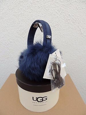 Ugg Peacoat Toscana Tech Shearling Wired Audio Device Earmuffs, Nwt And Box