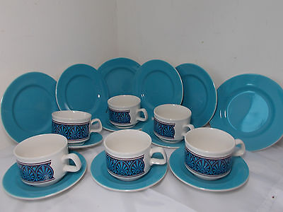 Vintage/retro Staffordshire Cups, saucers and side plates blue and white