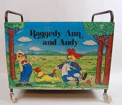 Vintage Raggedy Ann & Andy Toy Box Cart Pressboard - The Bobbs - Merill Co