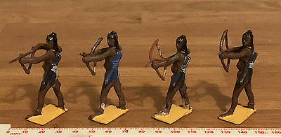 4 Vintage Britains Painted Lead Soldiers Possibly West Africa Togoland Warriors