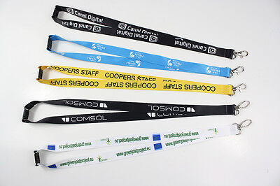 100 Personalised 20Mm Lanyards With Logo, Text Full Colour Print + Safety Clip