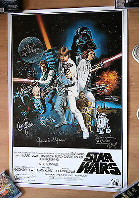 Star Wars One Sheet Poster Signed by 12 Carrie Fisher Kenny Baker
