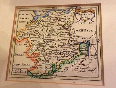 Antique Mounted Map of WORCESTERSHIRE by John Seller. 1701.  Map, 14cm X 11.5cm