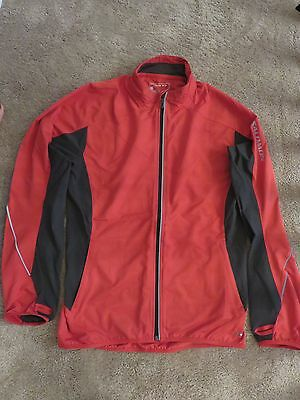 Salomon Mens Clima Wind Red / Black Running Full Front Zip Jacket Size Med