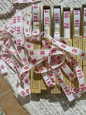 12 boxes vintage French 1920s woven name tape ribbon - numbers (A)